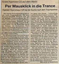 Bericht in der Süddetuschen Zeitung über die erste Hypnose CD-ROM